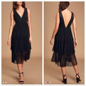 Lulu's Sincerely Me Black Tiered Midi Dress